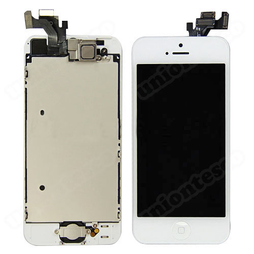iPhone 5 LCD Screen Full Assembly with Silver Ring - White