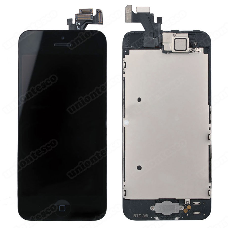 iPhone 5 LCD Screen Full Assembly with Black Ring - Black